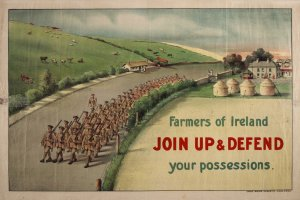 Farmers-of-Ireland-join-up-and-defend-your-possessions-first-world-war-recruitment-poster