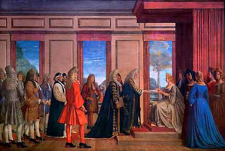 The Parliamentary Union of England and Scotland, 1707, as painted by Walter Thomas Monnington