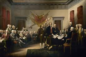 John Trumbell's famous depiction of the committee presenting the Declaration of Independence for signature