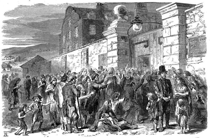 Scene at work-house during Irish Famine
